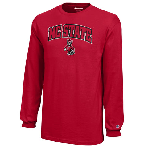 NC State Wolfpack Youth Red Arched NC State Strutting Wolf Long Sleeve T-Shirt