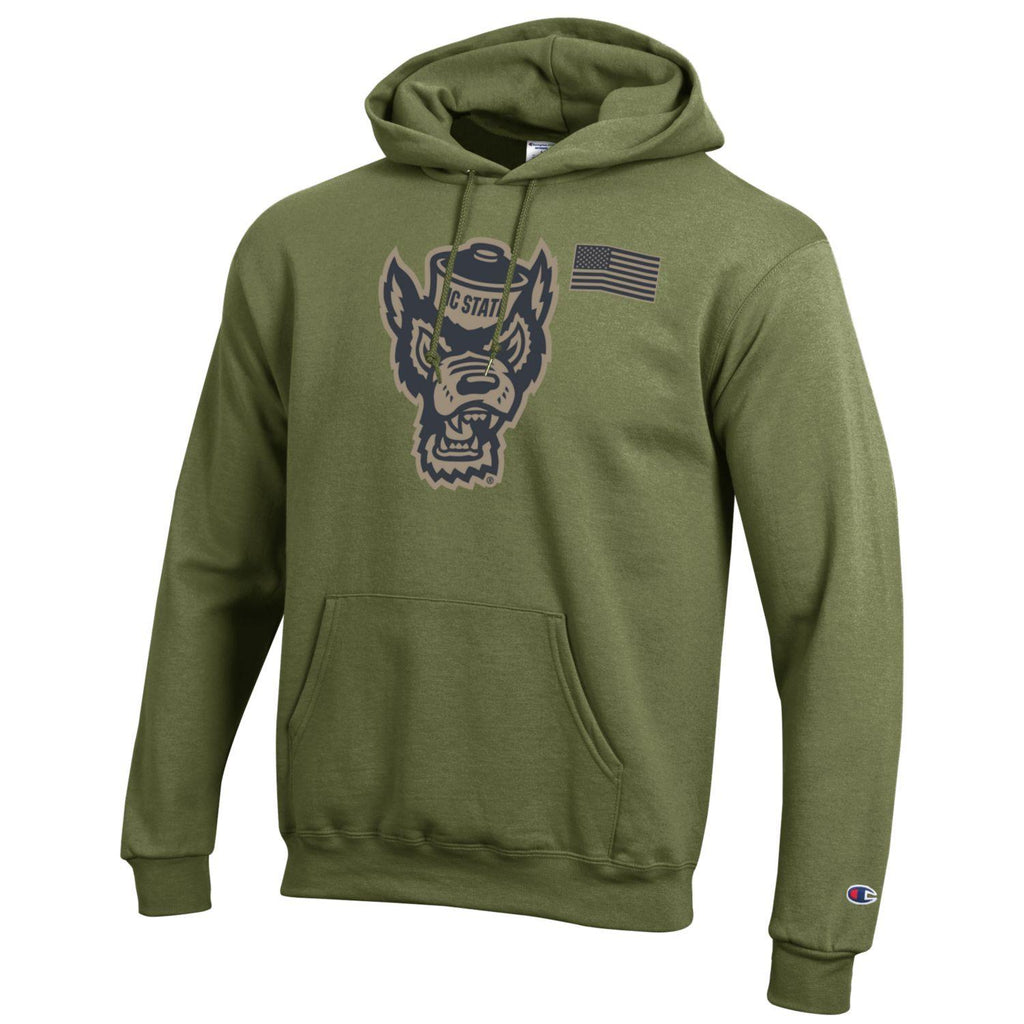 NC State Wolfpack Champion Cargo Green Wolfhead Salute To Service Hooded Sweatshirt