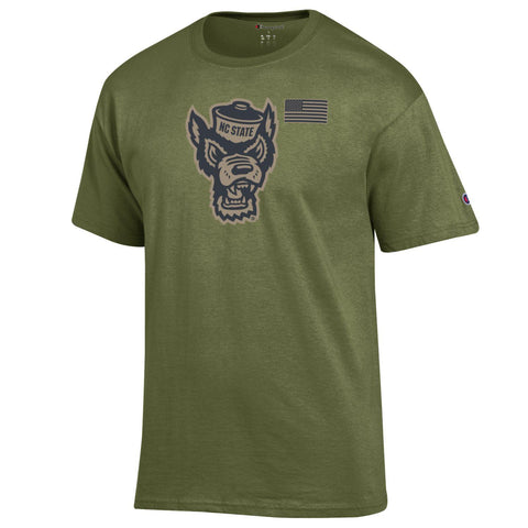 NC State Wolfpack Champion Cargo Green Wolfhead Salute To Service T-Shirt