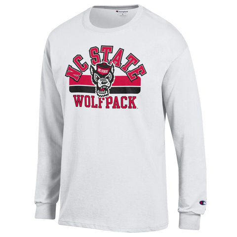 NC State Wolfpack Champion White Arched NC State Over Wolfhead Long Sleeve T-Shirt