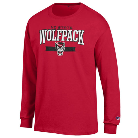 NC State Wolfpack Champion Red Wolfhead In Ribbon Long Sleeve T-Shirt