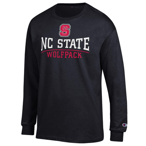 NC State Wolfpack Champion Black Block S Arch Bar Long Sleeve T-Shirt