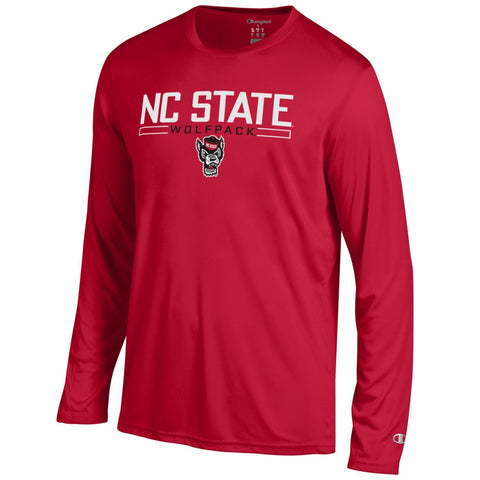 NC State Wolfpack Champion Red Wolfhead Athletic Long Sleeve T-Shirt