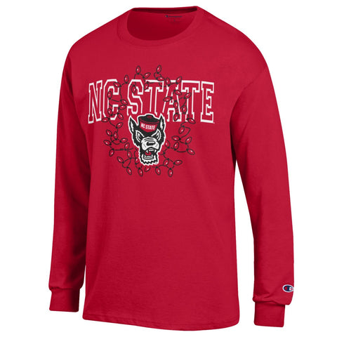NC State Wolfpack Champion Red Wolfhead w/ Christmas Lights Long Sleeve T-Shirt