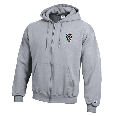 NC State Wolfpack Champion Heathered Grey Wolfhead Full Zip Hooded Sweatshirt