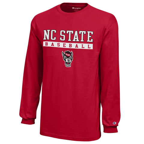 NC State Wolfpack Champion Youth Red Wolfhead Baseball Inside Bar Long Sleeve T-Shirt