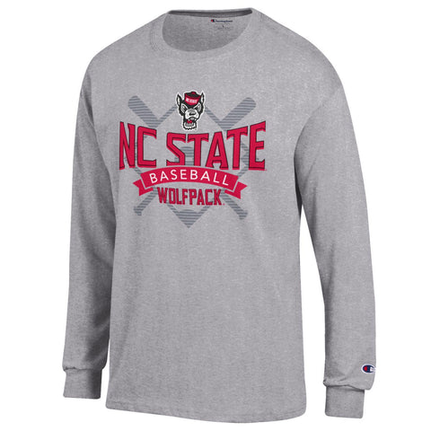 NC State Wolfpack Champion Grey Wolfhead Baseball Diamond and Bats Long Sleeve T-Shirt