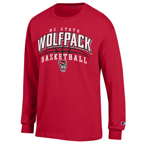 NC State Wolfpack Champion Red Arched Wolfhead Basketball Long Sleeve T-Shirt