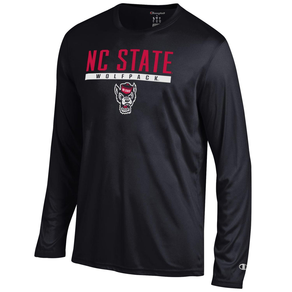 NC State Wolfpack Champion Black Wolfhead Athletic Long Sleeve T-Shirt