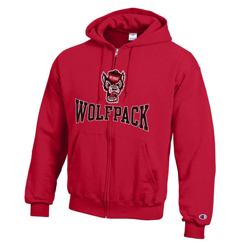 NC State Wolfpack Champion Red Powerblend Wolfhead Full Zip Hood