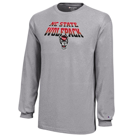 NC State Wolfpack Champion Youth Grey Arched Wolfhead Long Sleeve T-Shirt