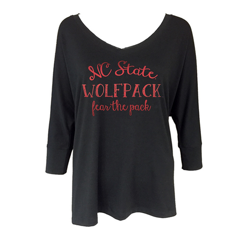 NC State Wolfpack Women's PIKO Ashley 3/4 Sleeve T-Shirt