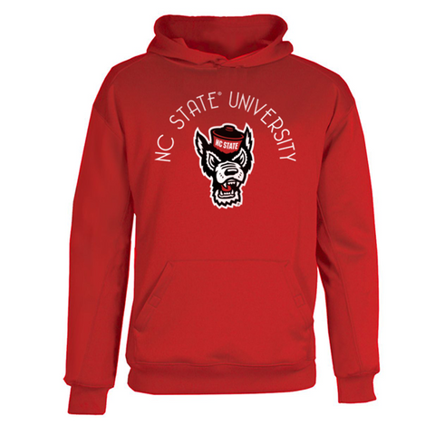 NC State Wolfpack Youth Red Wolfhead Poly Fleece Hooded Sweatshirt