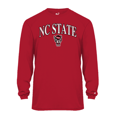 NC State Wolfpack Youth Red Wolfhead Performance Long Sleeve T-Shirt
