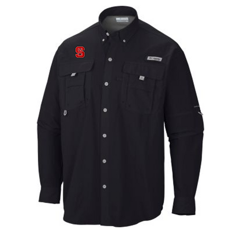 NC State Wolfpack Columbia Black Bahama Long Sleeve Button Down Shirt