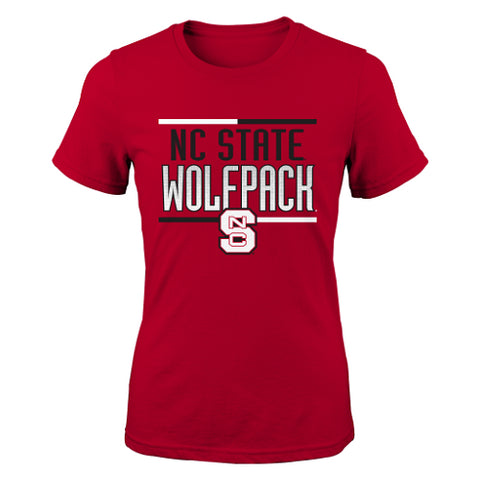 NC State Wolfpack Adidas Red Youth Girls Bar Stack T-Shirt