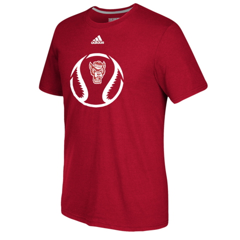 NC State Wolfpack Adidas Red Wolfhead Baseball Icon Creator Climalite T-Shirt