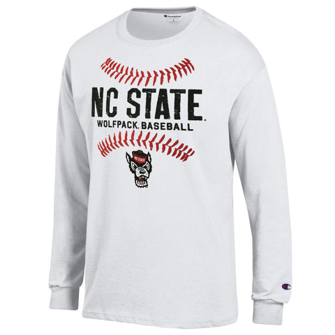 NC State Wolfpack Champion White Wolfhead Baseball Long Sleeve T-Shirt