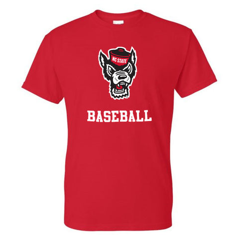 NC State Wolfpack Youth Red Wolfhead Baseball T-Shirt