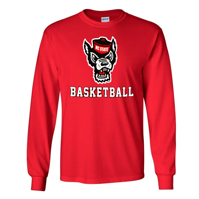 NC State Wolfpack Red Wolfhead Basketball Long Sleeve T-Shirt