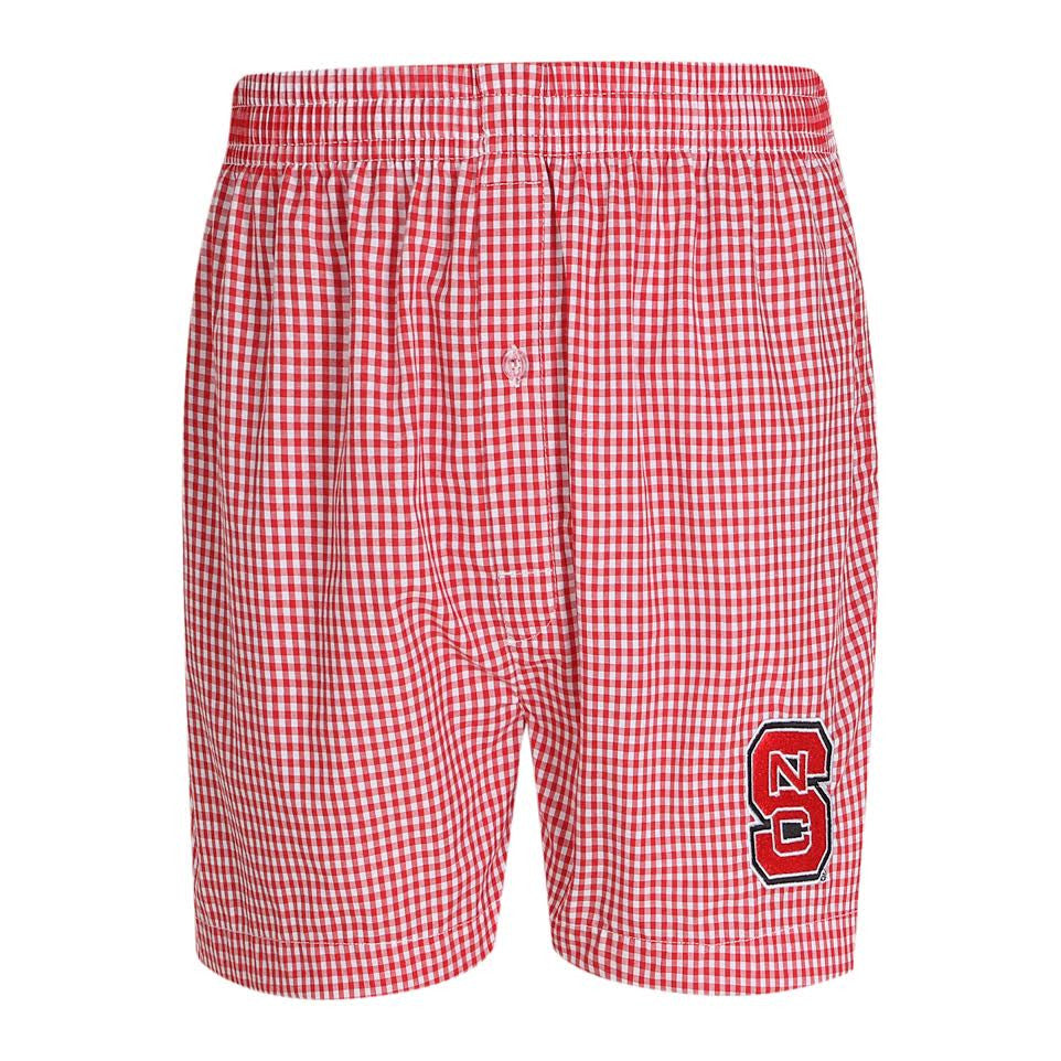 NC State Wolfpack Gingham Boxer Shorts