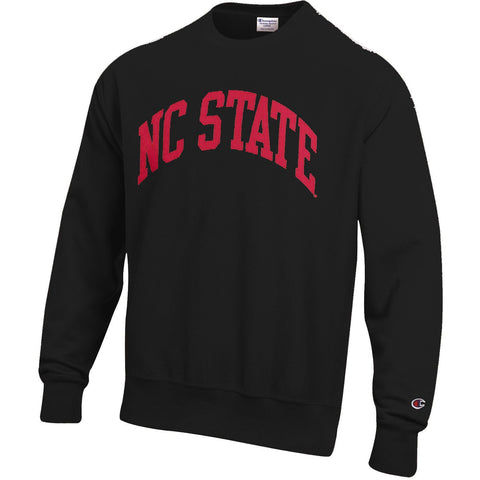 NC State Wolfpack Champion Youth Black Powerblend Arched NC State Crewneck Sweatshirt