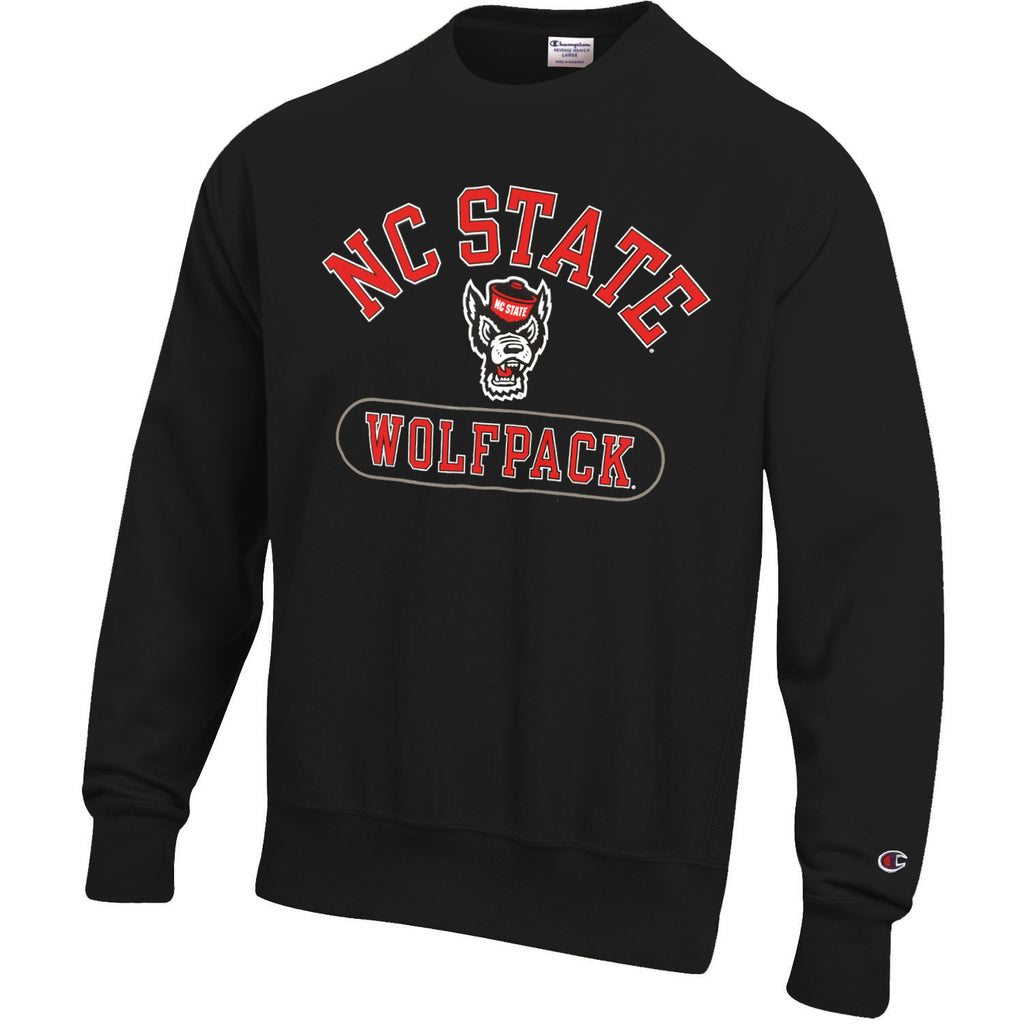 NC State Wolfpack Champion Black Powerblend Arched NC State Over Wolfhead Crewneck Sweatshirt