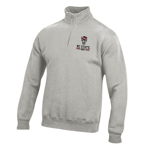 NC State Wolfpack Heather Oxford Big Cotton Wolfhead 1/4 Zip Jacket