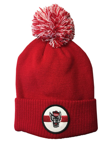 NC State Wolfpack Adidas Red Wolfhead Patch Cuffed Beanie w/Pom