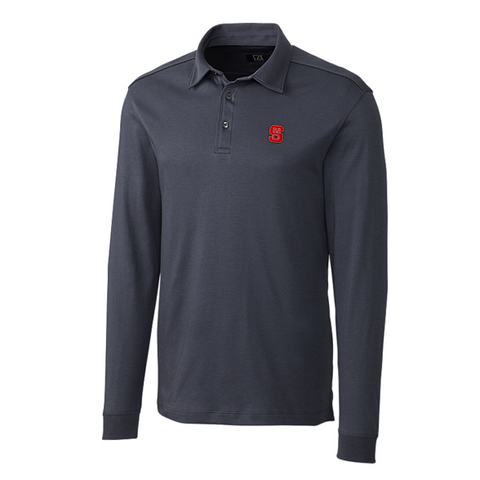 NC State Wolfpack Cutter & Buck Onyx Belfair Pima Long Sleeve Polo