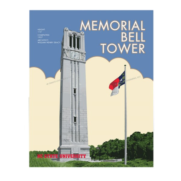 NC State Wolfpack 11x14 Bell Tower Matted Print