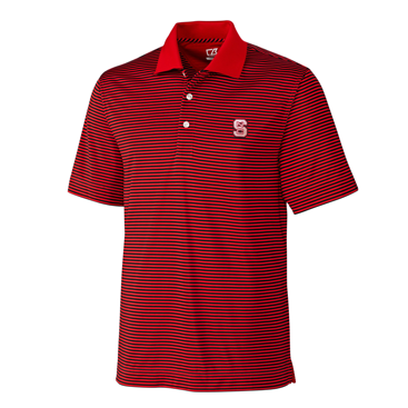 NC State Wolfpack Cutter and Buck Red and Black Striped Trevor Polo