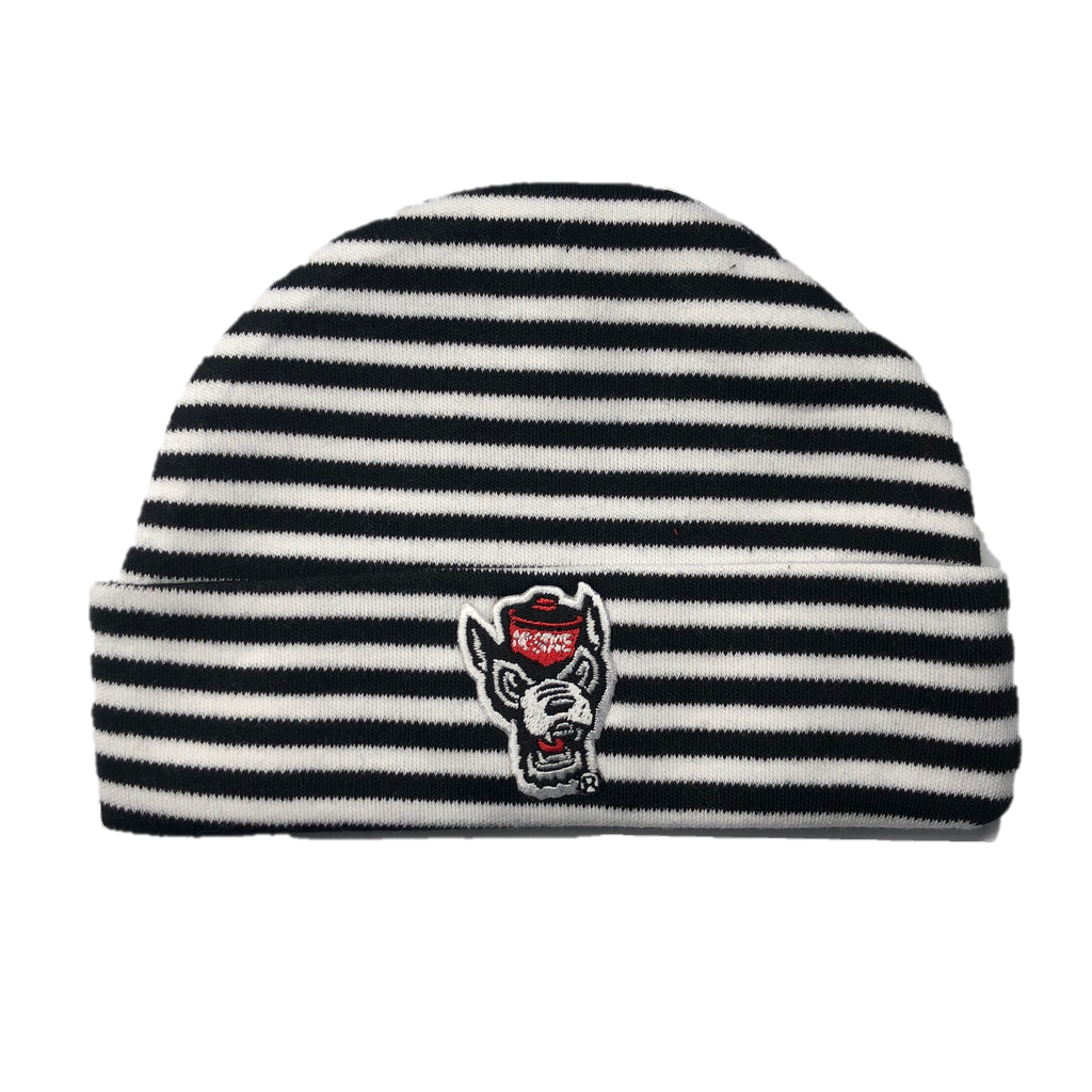 NC State Wolfpack Creative Black and White Striped Wolfhead Newborn Knit Hat