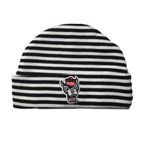 NC State Wolfpack Creative Black and White Striped Wolfhead Knit Hat