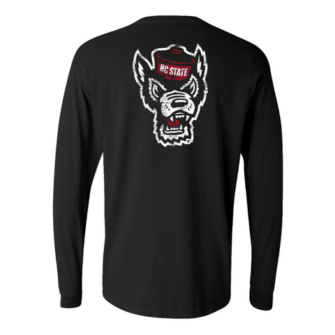 NC State Wolfpack Comfort Colors Black Wolfhead Long Sleeve T-Shirt