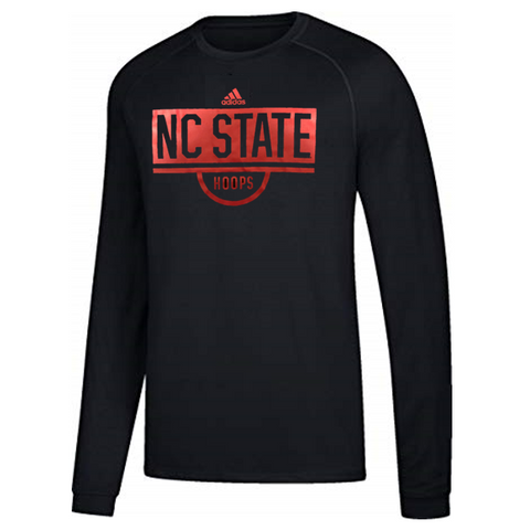NC State Wolfpack Adidas Black Hoops Ultimate Long Sleeve T-Shirt