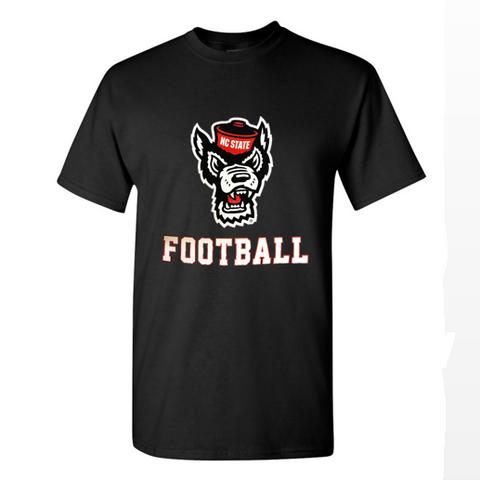 NC State Wolfpack Black Wolfhead Football T-Shirt