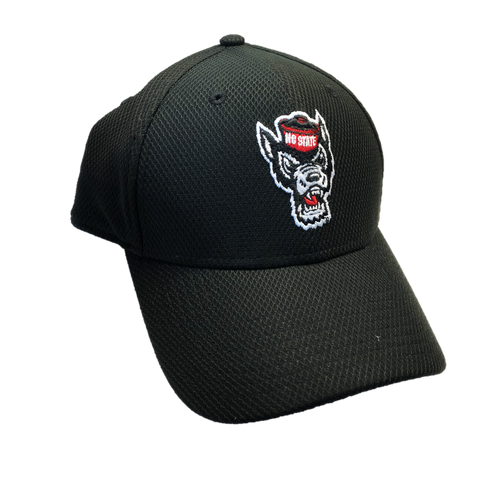 NC State Wolfpack New Era Black Wolfhead Mesh Fitted Hat