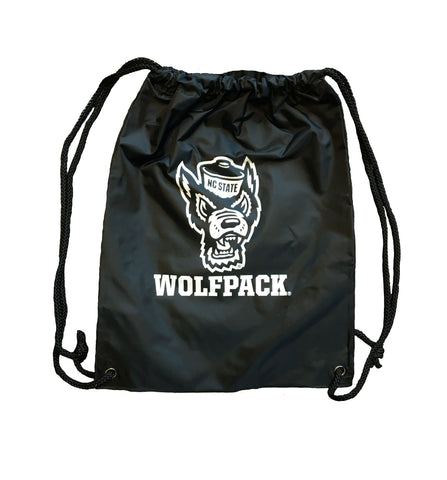 NC State Wolfpack Black Heavy Duty Drawstring Backpack