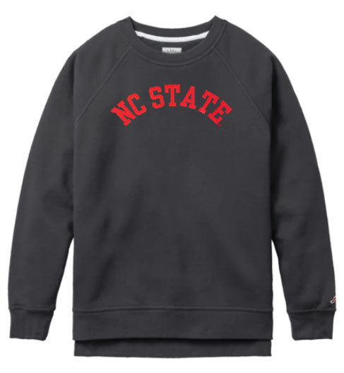 NC State Wolfpack Women's Black Arched NC State Crewneck Sweatshirt