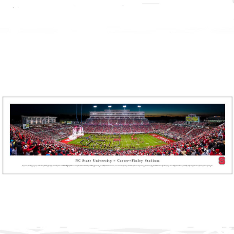 NC State Wolfpack Carter-Finley Stadium  50 Yard Line Night Panoramic Print