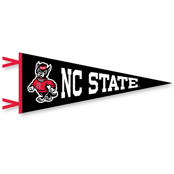 NC State Wolfpack Black 12x30 Strutting Wolf Pennant