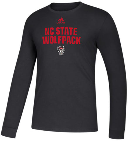 NC State Wolfpack Adidas Black Football Sideline Wolfhead Amplifier Long Sleeve T-Shirt
