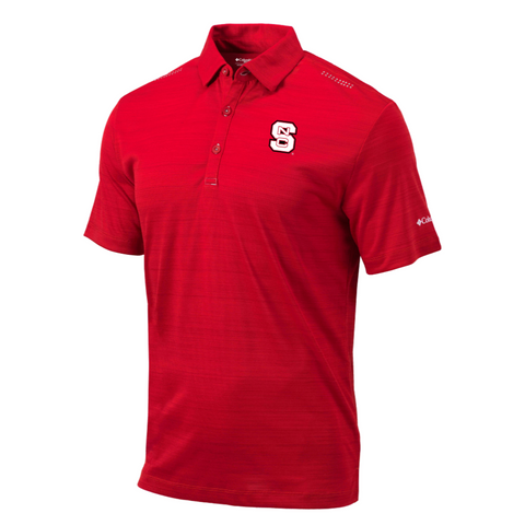 NC State Wolfpack Columbia Red Omni-Wick Printed Dot Block S Polo