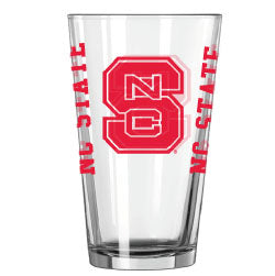 NC State Wolfpack 16oz Red Block S NC State Pint Glass