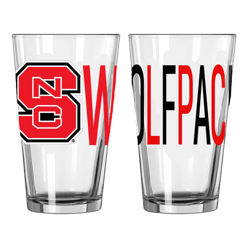 NC State Wolfpack 16oz Red and Black Wolfpack Overtime Pint Glass