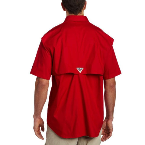 NC State Wolfpack Red Columbia Bonehead Button-Up PFG Shirt