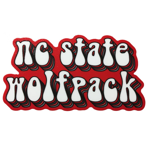 NC State Wolfpack Bubble Text Rugged Sticker