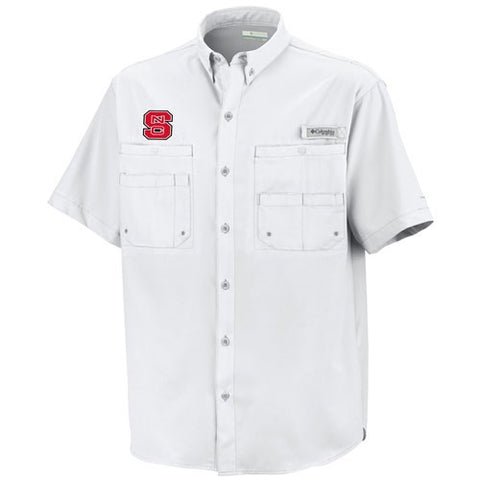 NC State Wolfpack Columbia® White Tamiami Button Down Shirt