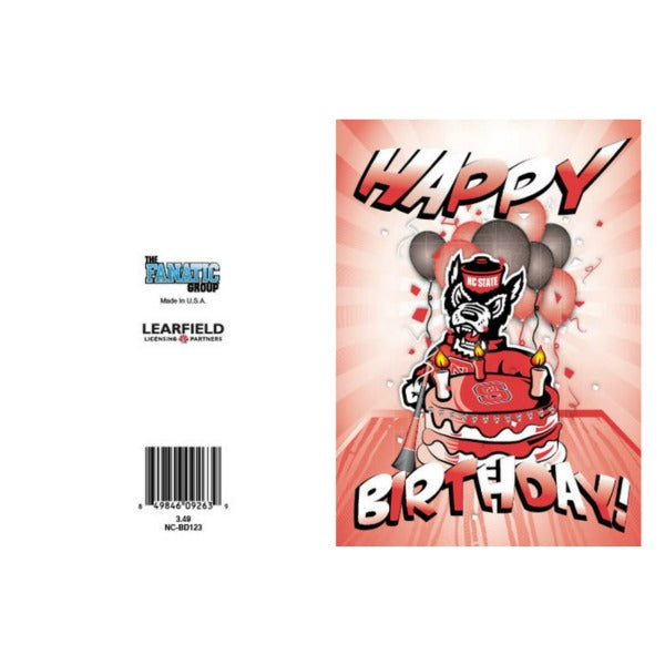 NC State Wolfpack Happy Birthday Cake Strutting Wolf Card